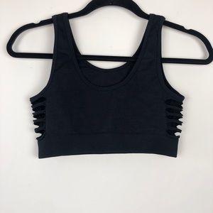 Black spandex sports bra